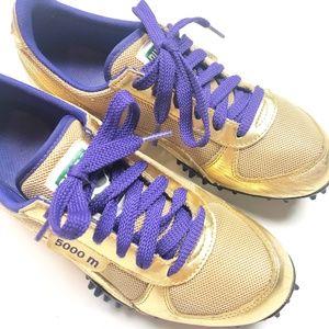 Puma 500m Metallic Gold Purple Sneakers